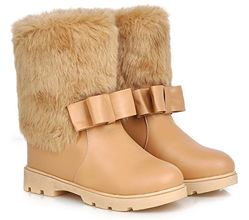 Apricot Heels Ankle Round Elevator Faux Pull Aisun Lined Warm Low Cute Snow Women's With Winter On Bows Fur Boots Toe Booties 7qWaW6Rng