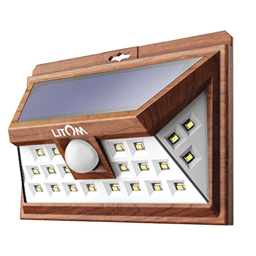 LITOM Solar Lights Outdoor, Wireless 24 LED Motion Sensor Solar Lights with Wide Lighting Area, IP65 Waterproof Security Lights for Porch, Deck, Backyard, Front Door, Garage