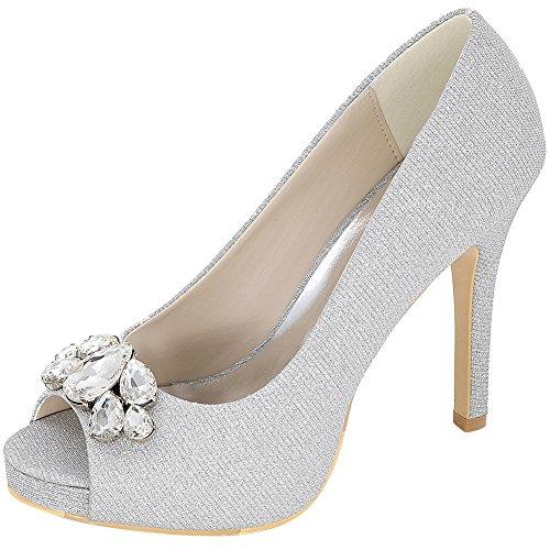 Loslandifen Femmes Peep Toes Pompes Satin Strass Incrustés Stiletto Talon Haut Chaussures De Mariée Mariage Paillettes Dargent