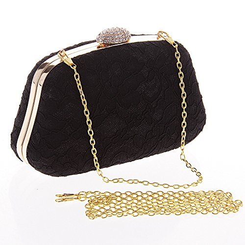 Clasp Evening Top Prom Crystal Party Clutch Beaded Gilttering Black Purse Lace Bag Hardbox 2017 qHXnx5Ewn