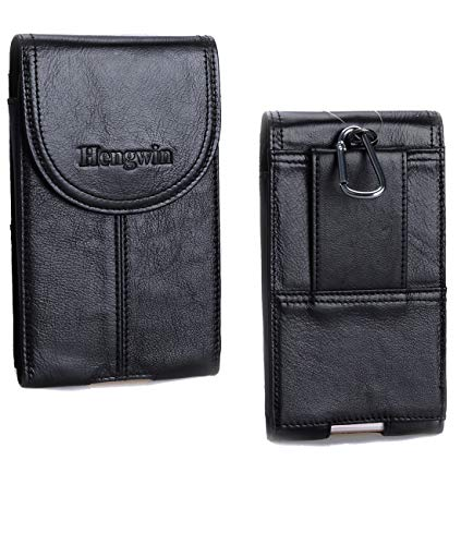 Belt Clip Holster Pouch Hengwin Genuine Leather Phone Case Holster with Magnetic Closure Purse Belt Loop Pouch Bag Compatible for iPhone XR 7 8 Plus Samsung S8 Plus + Keyring (Black)