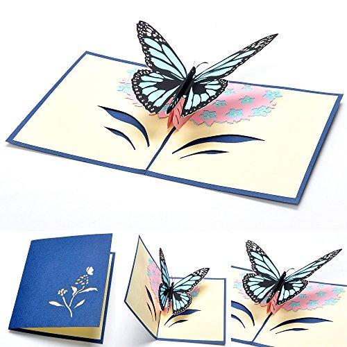 SanSeng Butterfly Pop up Card,3D Card, Birthday Card,Graduation,Anniversary, Engagement (Blue)