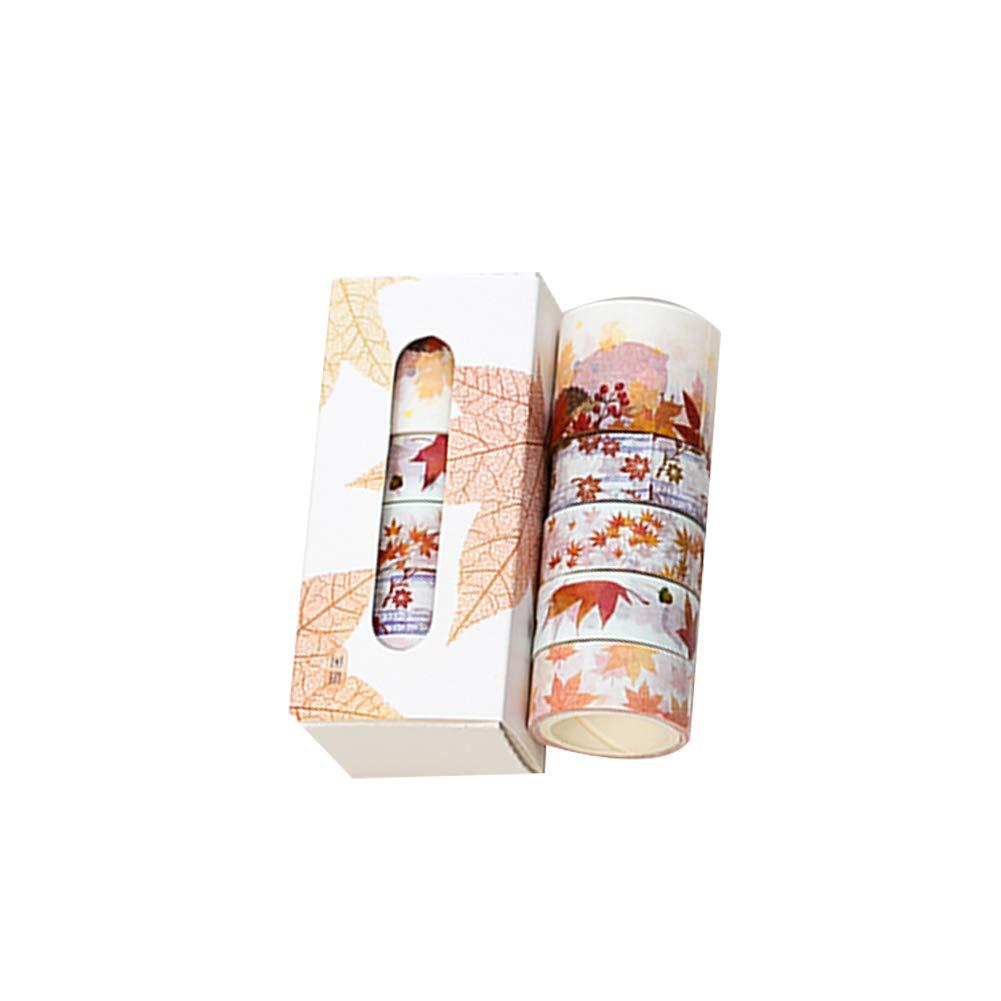 dragonaur 5 Rotoli 300 cm Flower Leaves Stampa Washi Tape Set, Carino cancelleria Gift Scrapbook Paper Tape Album Decorazione, 1