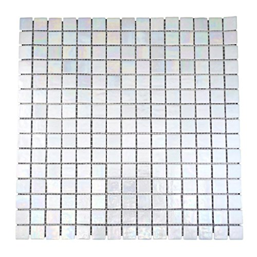 URBN Contemporary Pearl White Iridescent Glass Mosaic Tile for Kitchen and Bath - Single Sheet (13 inches x 13 inches, 1.15 SQ - Tile Iridescent Bathroom