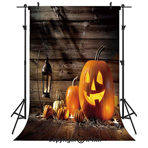 Halloween Photography Backdrops,Grinning Expression Pumpkin Country House Squash Bunch on Wooden Planks Image,Birthday Party Seamless Photo Studio Booth Background Banner 6x9ft,Brown -