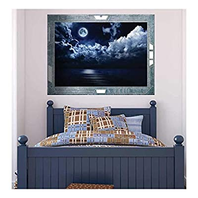 Wall26 - Science Fiction ViewPort - Decal - View of the Moon on a Gloomy Night - Wall Mural, Removable Sticker, Home Decor - 36x48 inches