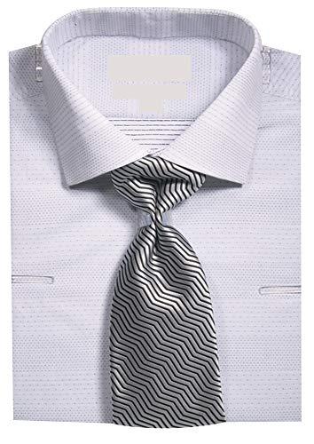(Sunrise Outlet Men's Micro Dots Dress Shirt w Tie Hanky Cufflinks - White - 19.5 36-37)