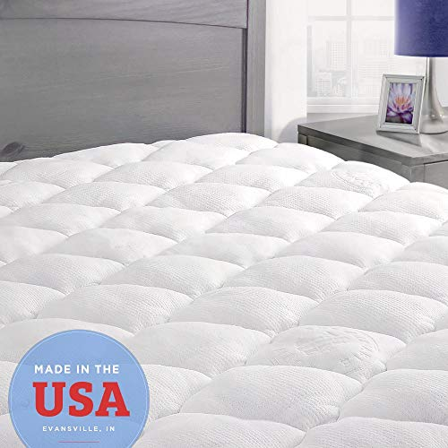 ExceptionalSheets Bamboo Mattress Pad with Fitted Skirt - Extra Plush...