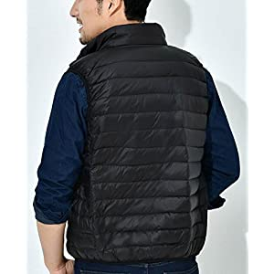 Panegy Men Zip Up Front Quilted Padded Vest Casual Sleeveless Outdoor Waistcoat Size XXL Black
