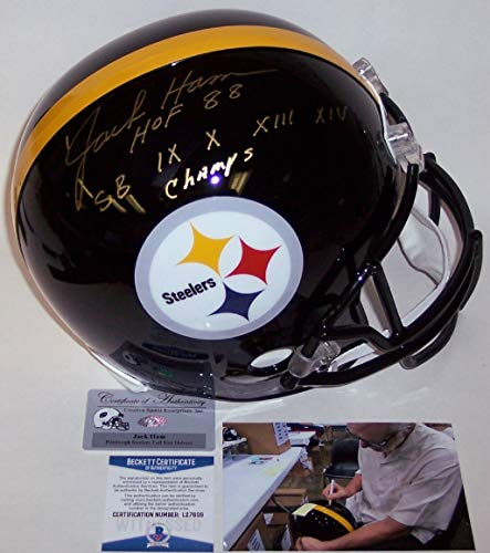 Jack Ham Autographed Hand Signed Pittsburgh Steelers Full Size Helmet - with Hall of Fame and Super Bowl Inscriptions - BAS Beckett ()