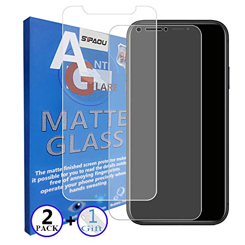 "SIPAOU Matte Screen Protector Compatible for iPhone Xs Max 6.5 Inch, Tempered Glass Film, Anti-Glare & Anti-Fingerprint, 2-Pack (6.5"" Matte)"