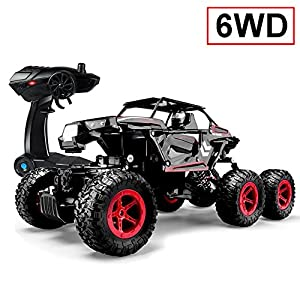SZJJX 6WD RC Cars, Remote Control Off-Road Climbing Truck, 1/14 Scale High Speed Vehicle, 2.4Ghz Electric Radio Controlled Rock Crawler, All-Terrain RTR Buggy Black