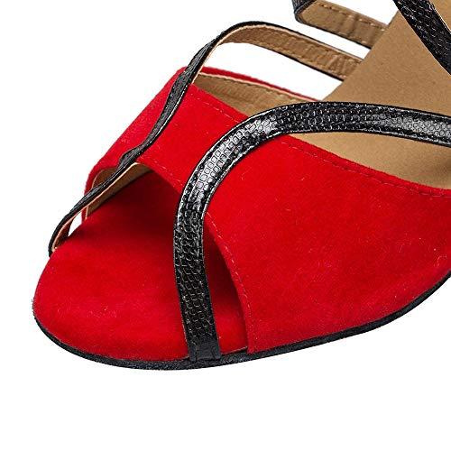 E Scamosciata 6cm heel Balli Pelle Alto Tacco In Sandali Da Red Donna Per Con Salsa Americani Latino Znqawa70R