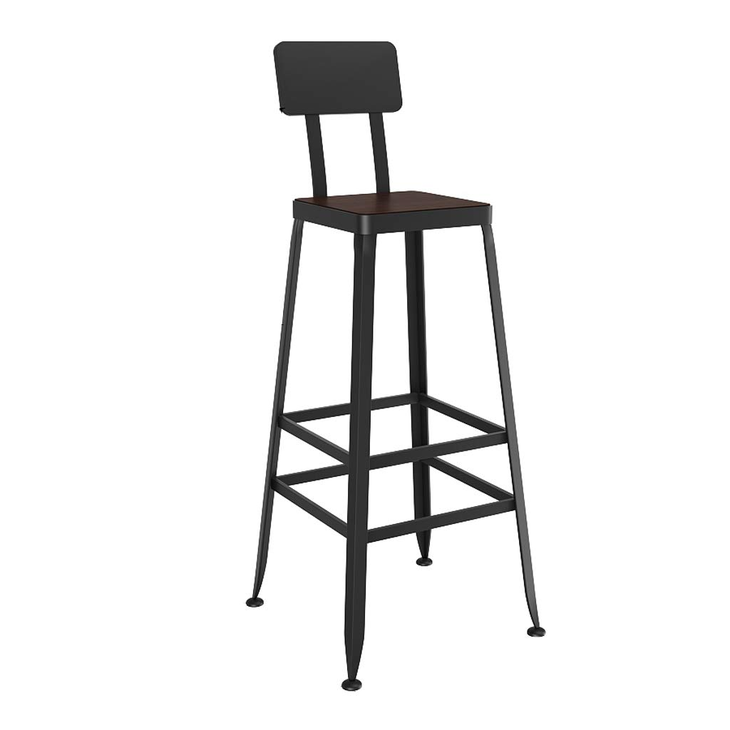 B 75cm Lxn Counter Black Height Stool Chairs, Industrial Retro Style Square Metal Bar Stools, Kitchen with backrest stools Comfortable Leather Padded Solid Wood seat (1- PCS)