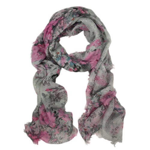 TrendsBlue Premium Soft Viscose Flower Print Scarf, Gray (Purple Viscose)