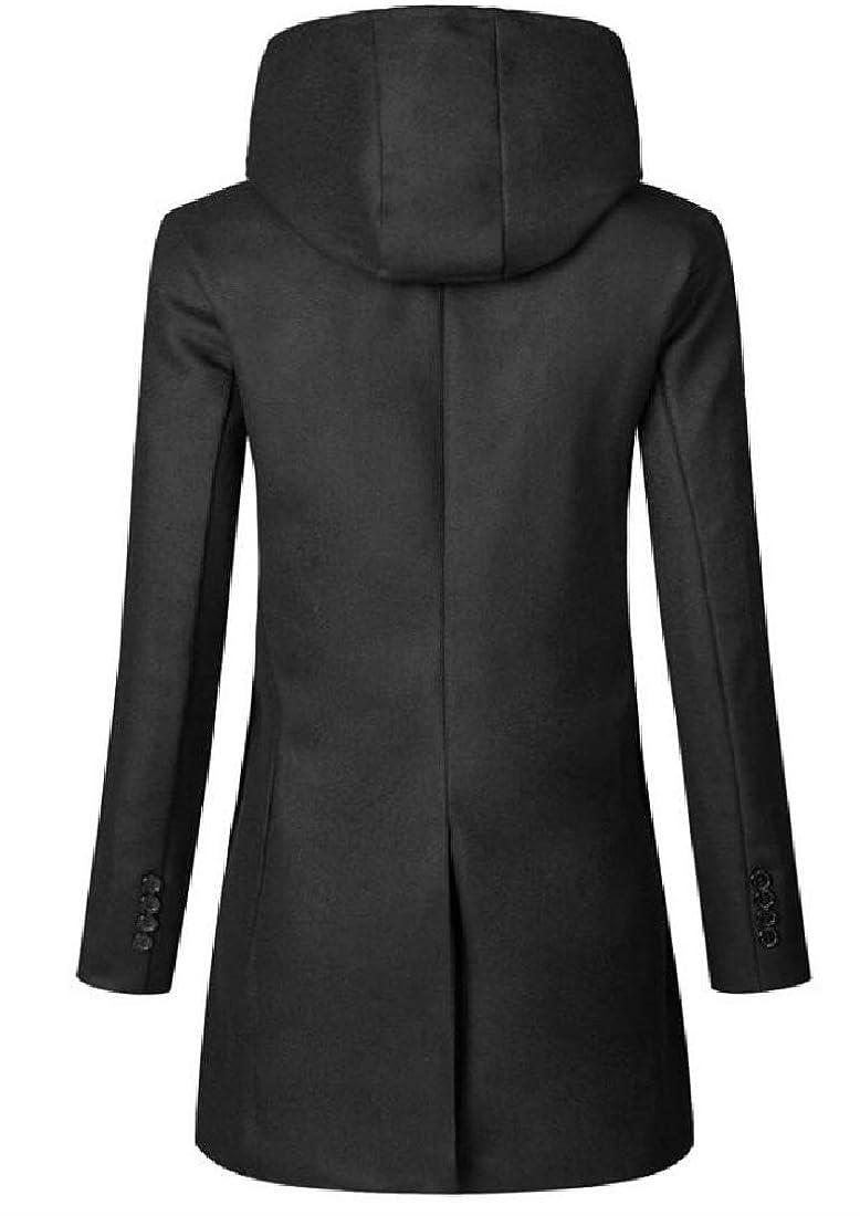 XQS Men Fashion Double Breasted Slim Trench Coat Parka Coat