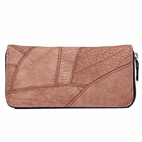 Women Wallet, Han Shi Fashion Lady Women Zipper Coin Purse Long Leather Wallet Card Holders Handbag Flexible Wallet Large Travel Working Purse Pocket (Brown)