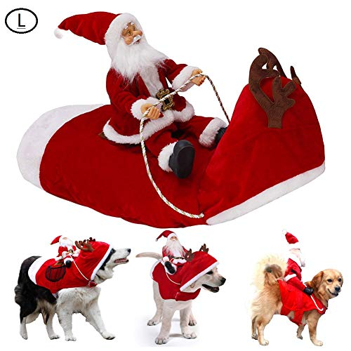 Unigant Santa Christmas Pet Costume Santa Claus Riding on Dog Apparel Party Dressing up Clothing Winter Hoodie Coat Dog…