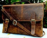 Handolederco Rustic Buffalo Hide Leather Messenger Laptop Shoulder Bag for Men and Women