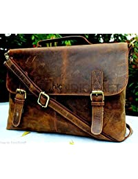 "Handolederco 16"" Vintage Rustic Buffalo Hide Leather Messenger Satchel Laptop Briefcase Shoulder Bag for Men's and Women"