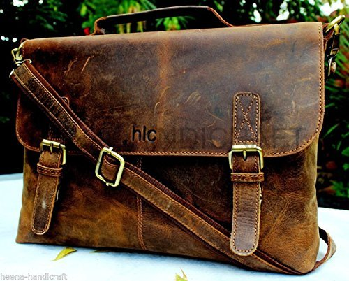 Handolederco. 15 Inch Retro Buffalo Hunter Leather Laptop Messenger Bag Office Briefcase College Bag