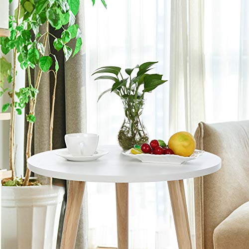 (Coffee Table,Fineser Nordic Style Minimalist Modern Simple Garden Coffee Tea Wood Table-Round-Three Legs Table-White for for Bedroom/Living Room/Apartment(Ship from US) (47×48cm/18.9×19.1inch))