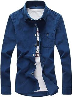 VPASS Hombre Camisas,Manga Larga Camisas Formales Casual Color Sólido Negocios Camisa de Moda Slim Fit Long Sleeve Blusa Tops Botón Shirt básica