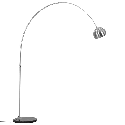 jago arc floor lamp brushed steel marble base floor light lamp with pivoting adjustable