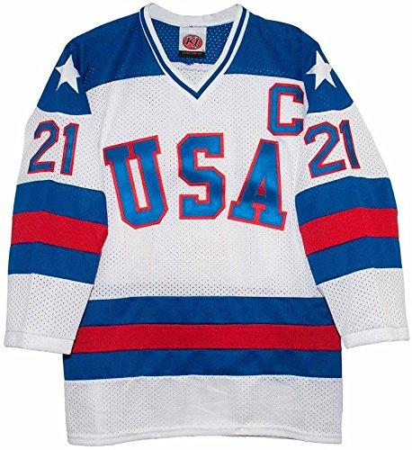 1980 Usa Hockey Jersey - Hoc.Deney 1980 Olympic USA Replica Commemorative #21 ERUZIONE White Hockey Jersey (S/M)