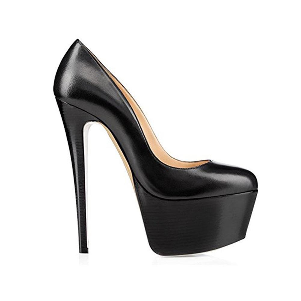 YWNC Femmes dames plate-forme fine black1 à fine talons hauts basique tête pompe en cuir véritable PU Casual noir ronde tête grande taille unique chaussures 40414243444546 black1 afde2f5 - fast-weightloss-diet.space