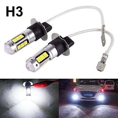 Boodled 2PCS H3 4014 High Power Chips 30SMD Bulbs Car Auto LED Headlight Fog Light Drving Light Replacement 800LM With Lens DC 12V (White) (2xH3-4014-30-W)