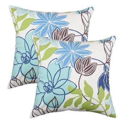 Chooty & CO Monaco Breeze Solid-Back KE Fiber Pillow, 17 by 17-Inch, Set of 2