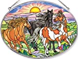 Amia Oval Suncatcher with Wild Mustang Horse Design, Hand Painted Glass, 6-1/2-Inch by 9-Inch