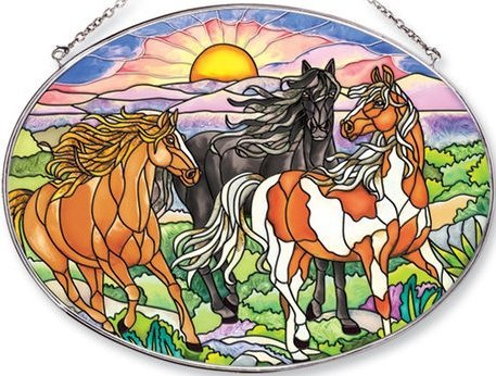 Amia Oval Suncatcher with Wild Mustang Horse Design, Hand Painted Glass, 6-1/2-Inch by ()