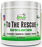 Joint Supplement for Dogs with Hemp Oil - Glucosamine, Chondroitin, Turmeric, Hip and Joint for Dogs, Arthritis Pain Relief & Improved Mobility - 120 Chicken Soft Chews +to The Rescue+