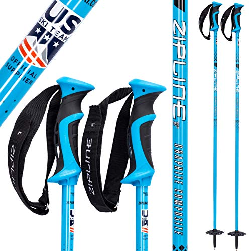Goode Carbon Ski Poles - Zipline Ski Poles Carbon Composite Graphite Blurr 16.0 U.S. Ski Team Official Ski Pole (Downhill/Mens/Womens/Kids/Junior/Freestyle/Racing) (Tropical Blue, 48