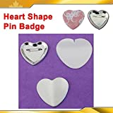 Heart Shape 53x57.5mm 100sets Pin Badge Button Parts Supplies for Maker Machine(item#015519)