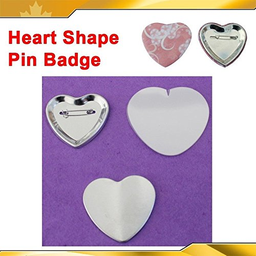 Heart Shape 53x57.5mm 100sets Pin Badge Button Parts Supplies for Maker Machine(item#015519) by Button Maker