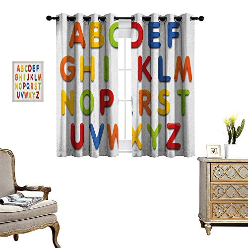 Warm Family Letters Thermal Insulating Blackout Curtain Multicolored Collection of Alphabet Letters Education Image Capital Symbols Writing Patterned Drape for Glass Door W72 x L72 Multicolor