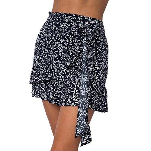 Print Cravate Moulante Floral Jupe L Purplish Blue Ligne Femmes Taille Flounce Haute A Mini Vestmon Short d't Jupe xA61Xqg