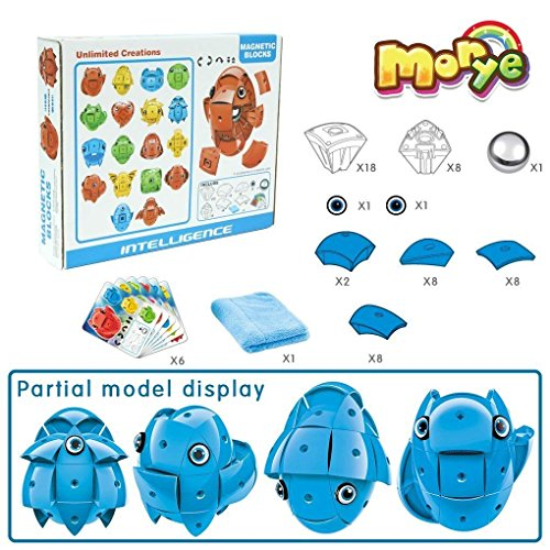 Morye 62 Pieces Magnetic Building Blocks Deformable Egg Design Playset Fun Creative Inspirational Educational Construction Suitable for Kids and Adults Blue by Morye