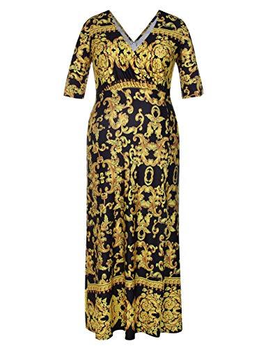 676fa37f5221 Vestido Negro Talla Traje Grande oro Feelingirl De Mujer Largo Noche ...