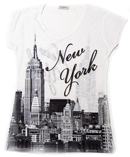 - Sweet Gisele New York Skyline V Neck T-Shirt for Women with Rhinestone (Large, White)