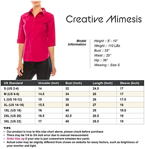 Creative Mimesis 3/4 Sleeve Button Down Up Collar Shirt Office Work Formal Casual Fit Top Blouse for Women Plus (S - 3XL)