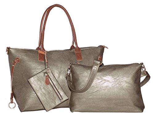 BHBS Bolso 3 en 1 para Dama tipo Tote con Cremallera en la Parta Superior, Correa Media-Larga y Pequeño Bolso para Maquillaje 48x28x5 cm (LxAxP) Metallic - Bronze