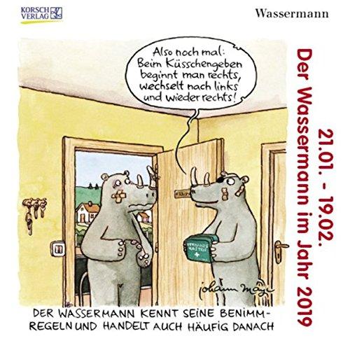 Wassermann Mini 2019: Sternzeichenkalender-Cartoon - Minikalender im praktischen quadratischen Format 10 x 10 cm. Kalender – Taschenkalender, 1. April 2018 Korsch Verlag Johann Mayr 3731832828 Astrologie / Sternzeichen