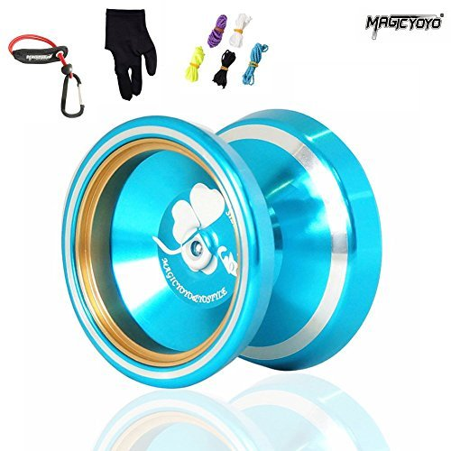 MAGICYOYO 2015 New Silencer M001-B Yo-yo Ball Aluminum Alloy Professional Yo-yo with Gloves + 5 Srings Gift Toys for Boys Girls Children Kids by MAGICYOYO