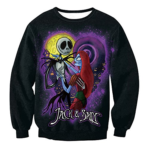 Leezeshaw Womens 3D Halloween Jack and Sally Printed Crew Neck Long Sleeve Pullover Sweatshirts Jumper Cosplay Costumes