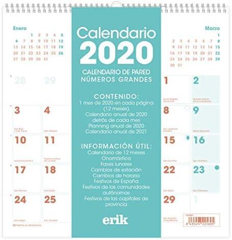 ERIK - Calendario de pared 2020 Genérico, 30 x 30 cm: Amazon.es: Oficina y papelería