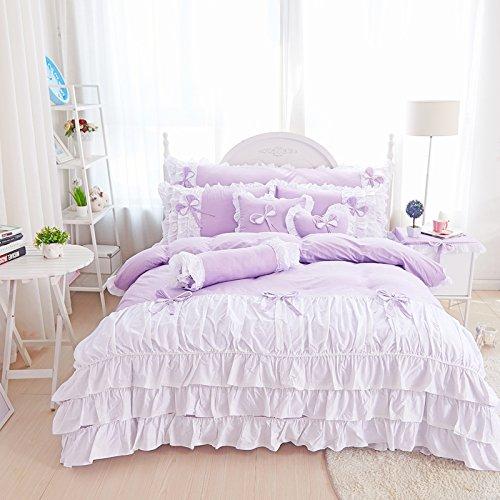 Lotus Karen Cute Pink Korean Bedding Sets Candy Color Girls Princess Duvet Cover Sets White Ruffles Cotton 4Pc Korean Bedding Sets-,1Duvet Cover,1Bedskirt,2Pillowcases,King Queen Full Twin (Cotton Candy Princess)